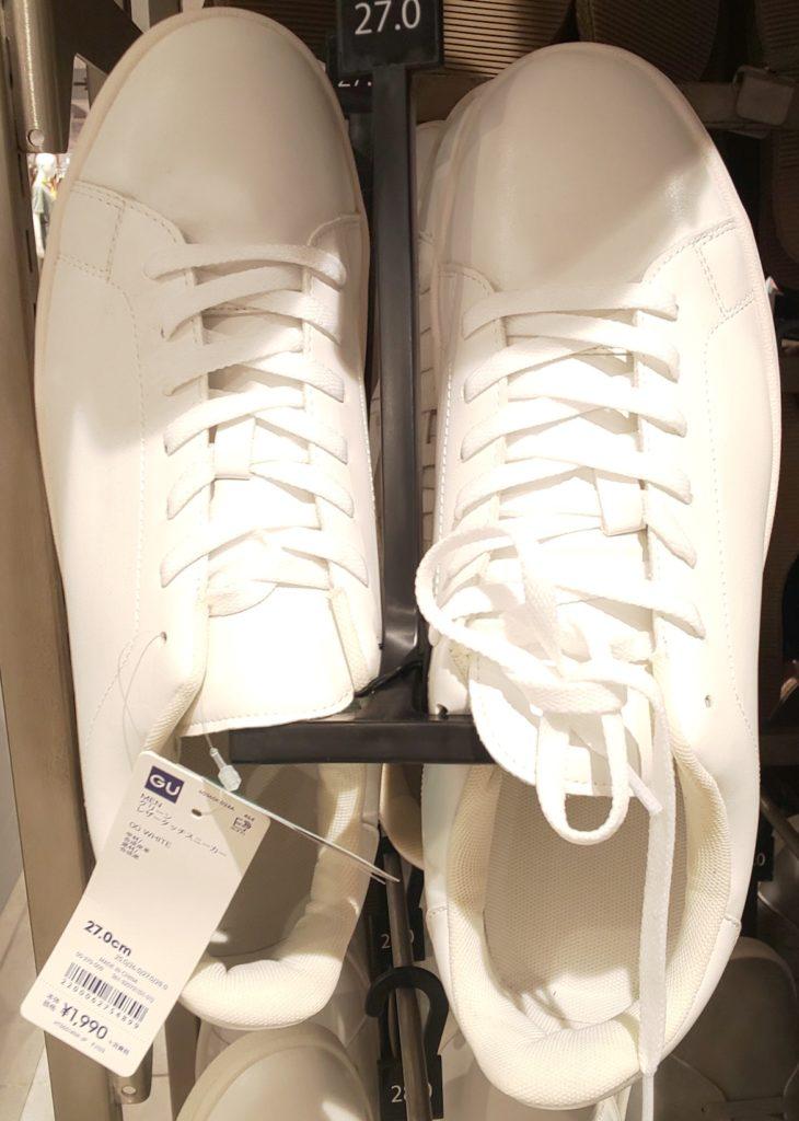GU レザータッチスニーカー WHITE 1,990円(税抜)