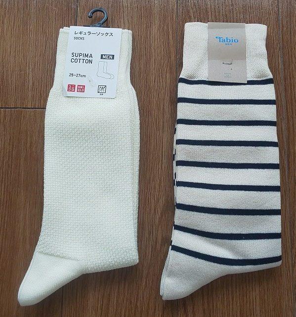 ユニクロ レギュラーソックス390円 Tabio MEN/ メンズ Tシャツボーダーソックス アイボリー ¥864税込