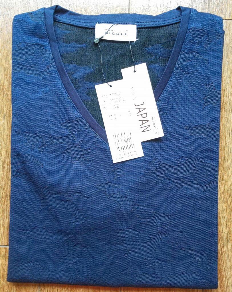 MONSIEUR NICOLEカモフラジャカードVネックTシャツ\9,000