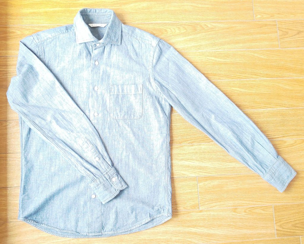スーツカンパニー【ETONNE】製品洗い ホリゾンタルカラースラブダンガリーシャツ カラー ネイビー 4,800円(税抜)