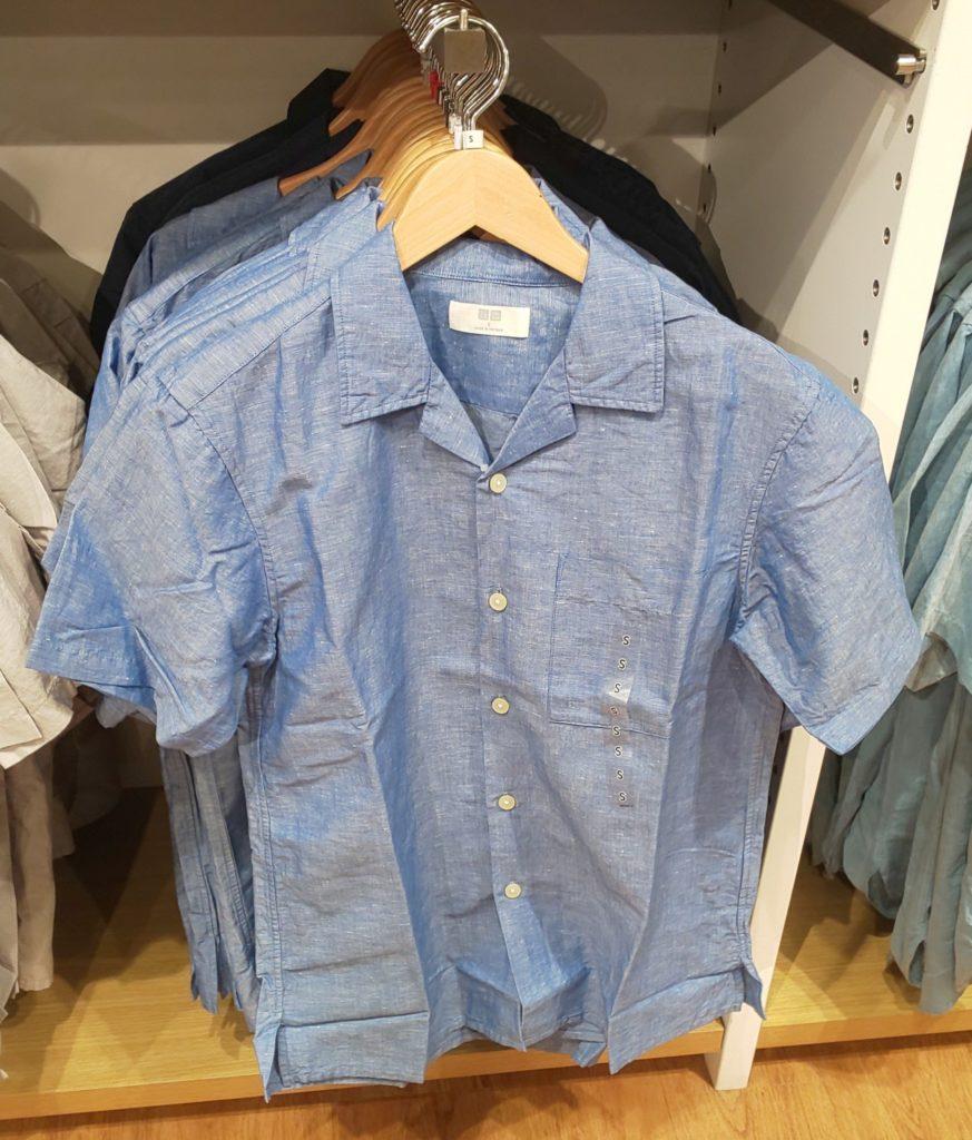 ユニクロ リネンコットンオープンカラーシャツ(半袖)