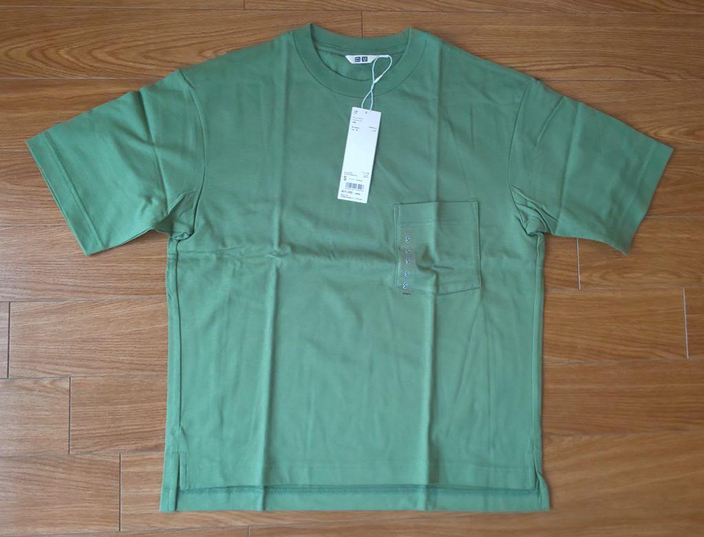 ユニクロ オーバーサイズ クルーネックT(半袖) グリーン1,500円(税抜)