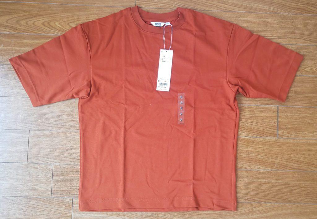 ユニクロ エアリズムコットン オーバーサイズTシャツ(5分袖) ダークオレンジ 1,500円(税抜)