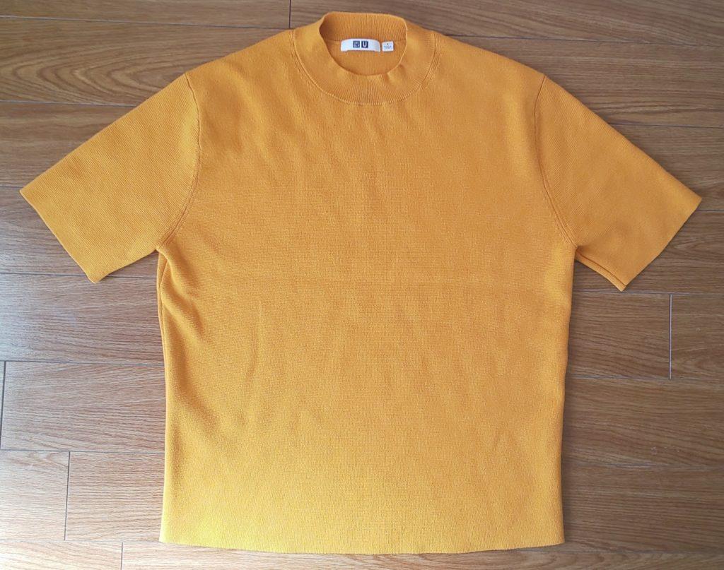 ユニクロ ミラノリブクルーネックセーター (半袖)イエロー 2,990円(税抜)