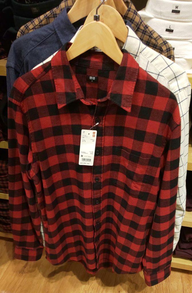 フランネルチェックシャツ(レギュラーカラー・長袖) レッド