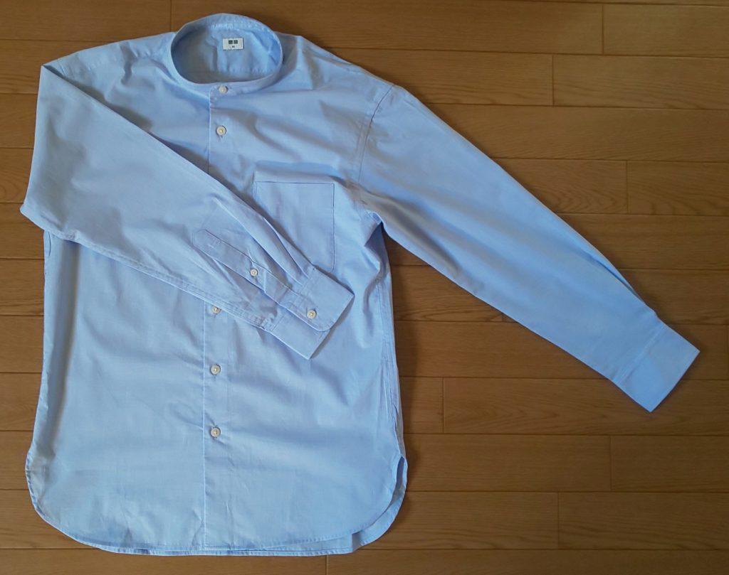 ユニクロ エクストラファインコットンブロードスタンドカラーシャツ(長袖)BLUE 1,990円