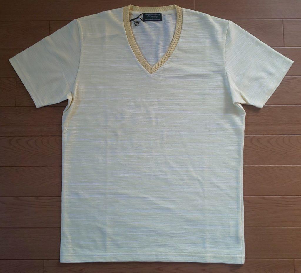 メンズビギ VネックTシャツ スラブ天竺/JAPAN MADE(日本製) イエロー 5,900円(税抜)