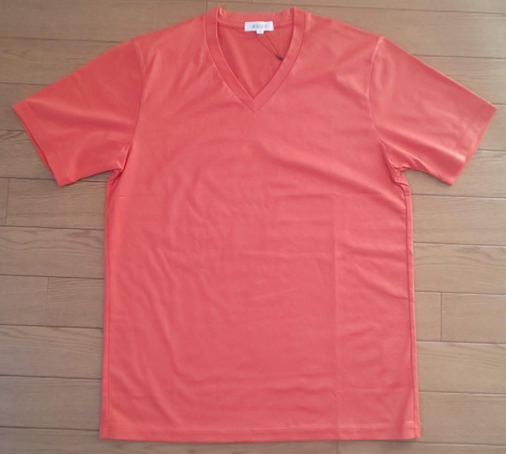 PLST URBAN ESSENTIALS シルキーコットン天竺VネックTシャツ Men オレンジ 3,500円(税抜)