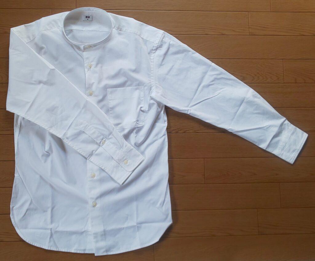 ユニクロ エクストラファインコットンブロード スタンドカラーシャツ(長袖)ホワイト 1,990円(税抜)