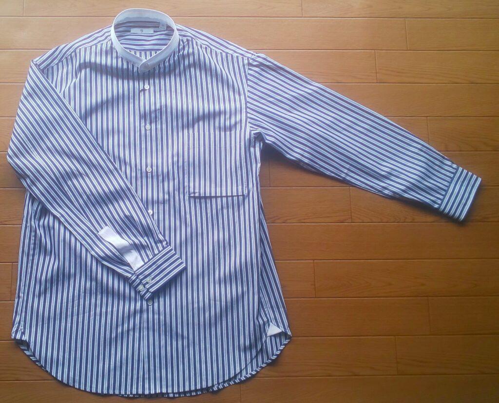 ユニクロ スーピマコットンオーバーサイズスタンドカラーシャツ(長袖・ストライプ)(ブルー) 3,990円