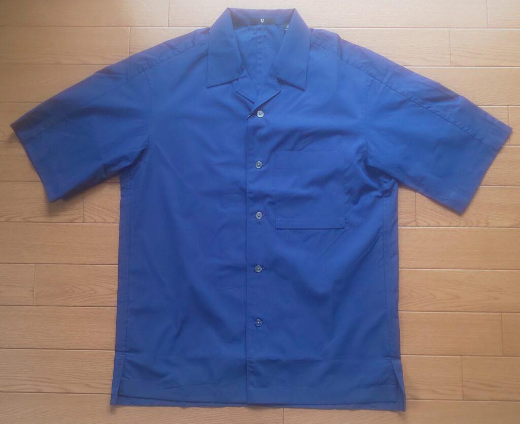 ユニクロ+J スーピマコットンオーバーサイズオープンカラーシャツ(半袖) ブルー 3,990円