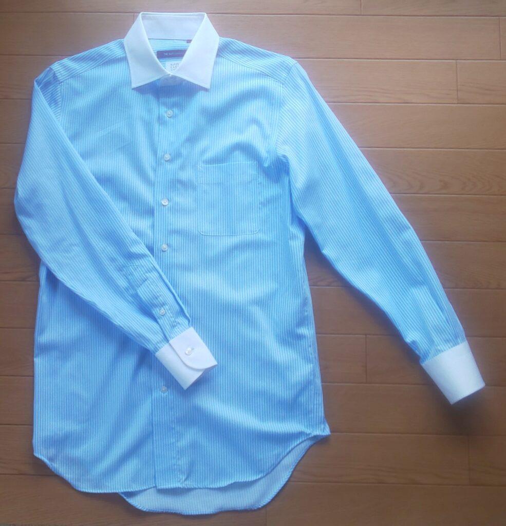 スーツカンパニー クレリックシャツ BS35(BASIC) CVCストレッチ S-セミW/C サックス単色ストライプ 3,630円(税込)
