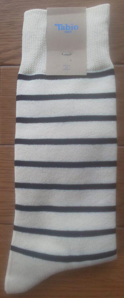 Tabio MEN/ メンズ Tシャツボーダーソックス アイボリー 864円