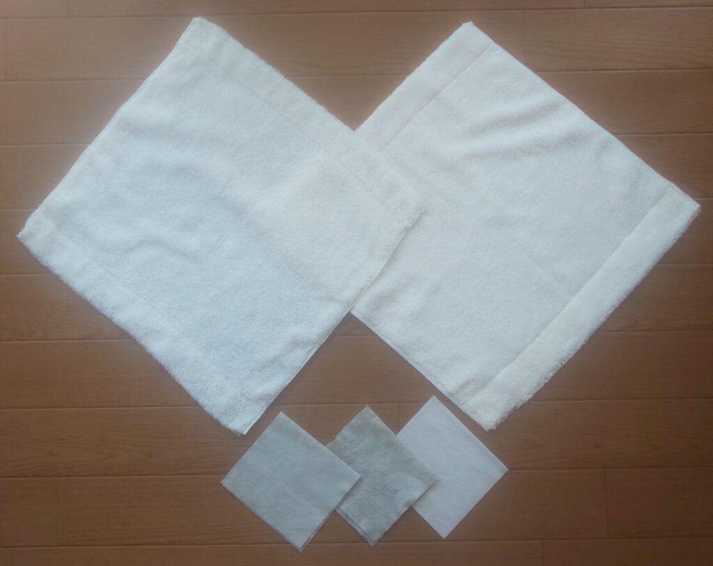 無印良品 ループ付 綿パイルハンドタオル とシート
