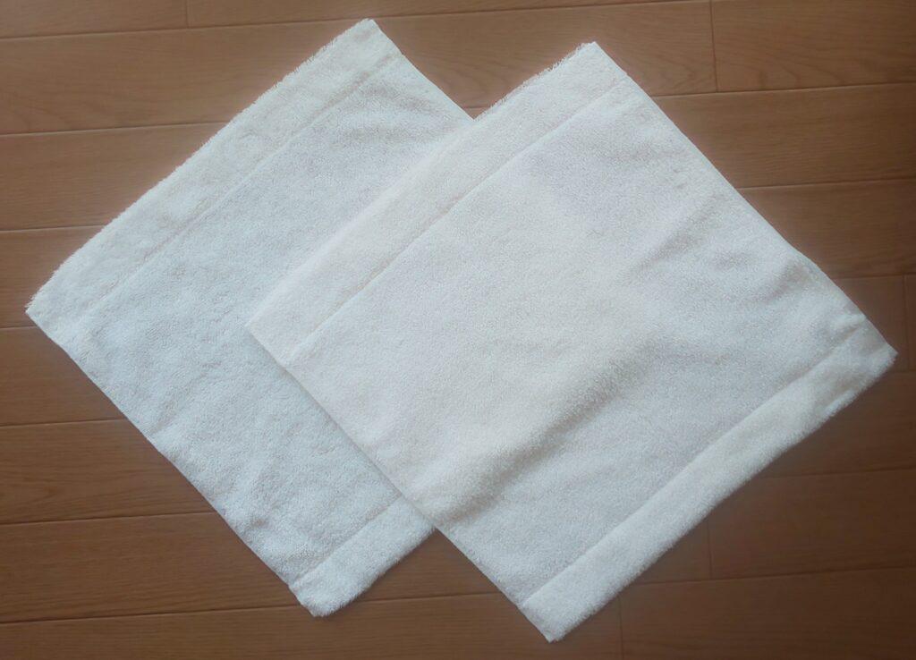 無印良品 ループ付 綿パイルハンドタオル・中厚手/オフ白34×35cm 290円