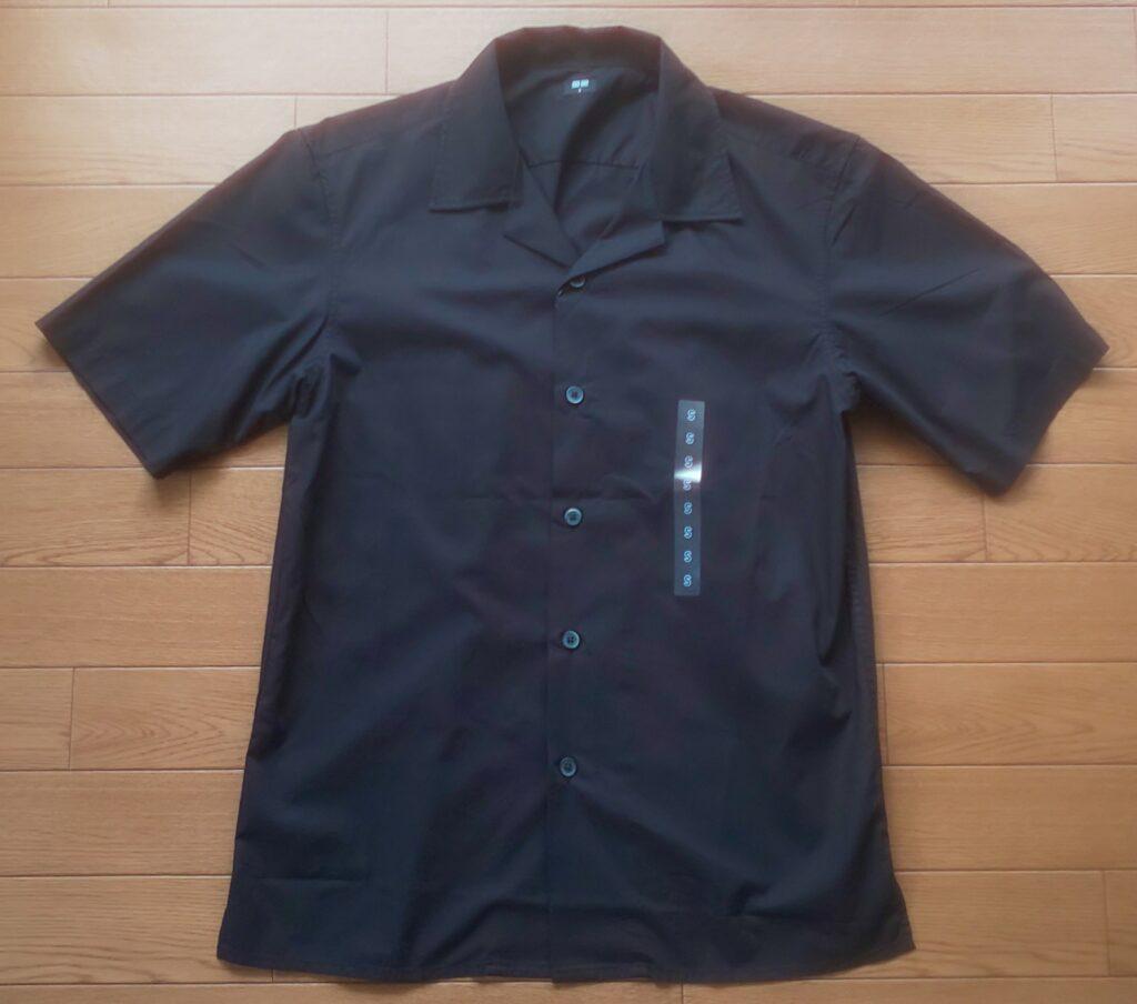 ユニクロ オープンカラーシャツ(半袖)ブラック 1,990円