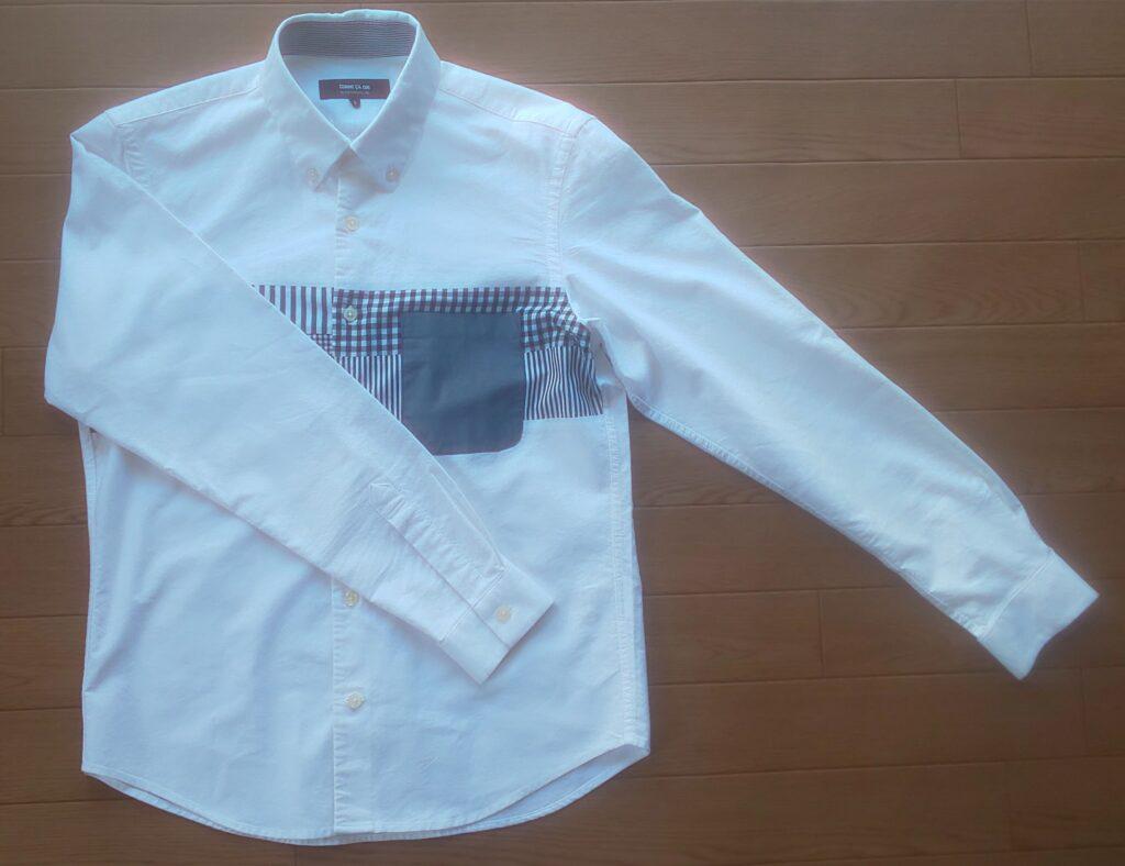 COMME CA ISM ストライプ 切替 ホワイト シャツ 6,050円